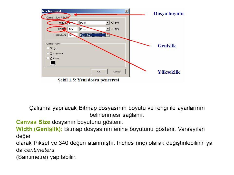 Çalışma yapılacak Bitmap dosyasının boyutu ve rengi ile ayarlarının belirlenmesi sağlanır.