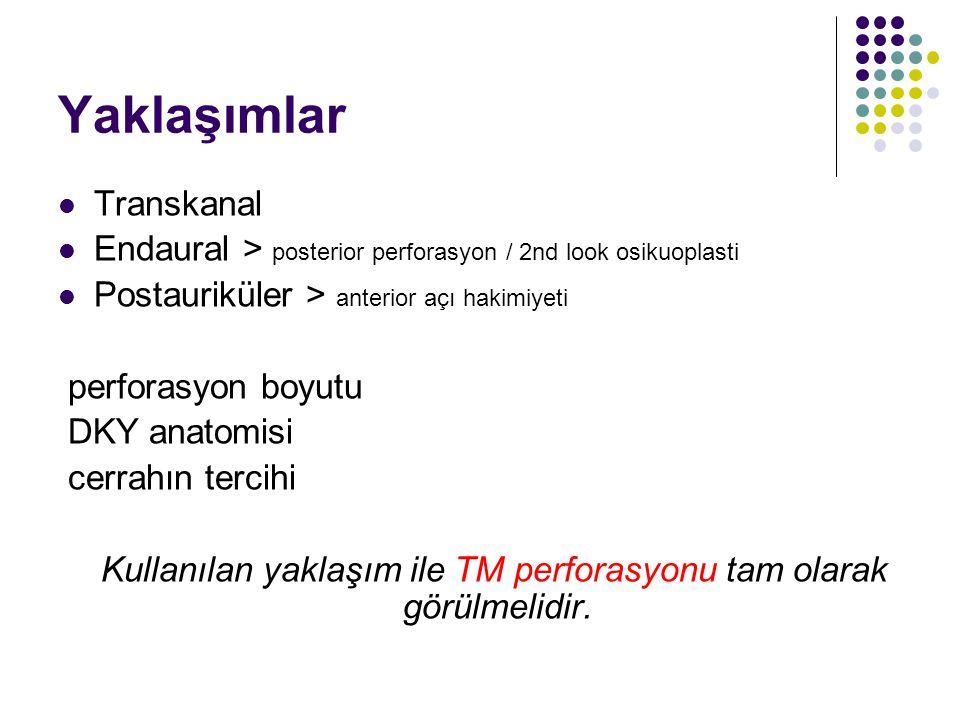 Kullanılan yaklaşım ile TM perforasyonu tam olarak görülmelidir.