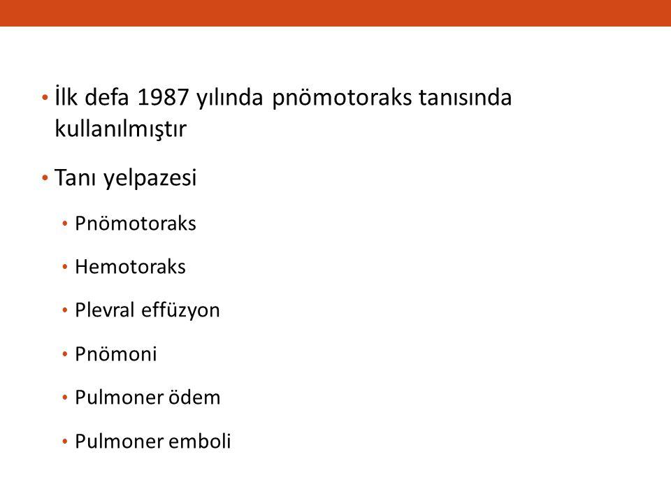 İlk defa 1987 yılında pnömotoraks tanısında kullanılmıştır