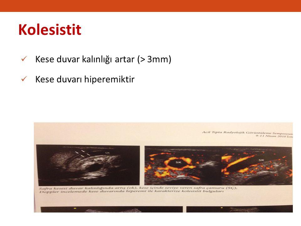 Kolesistit Kese duvar kalınlığı artar (> 3mm)