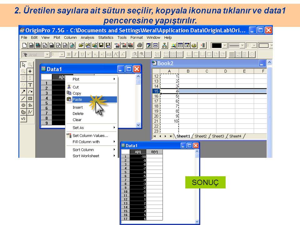 2. Üretilen sayılara ait sütun seçilir, kopyala ikonuna tıklanır ve data1 penceresine yapıştırılır.
