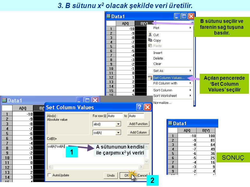 3. B sütunu x2 olacak şekilde veri üretilir. 1 2