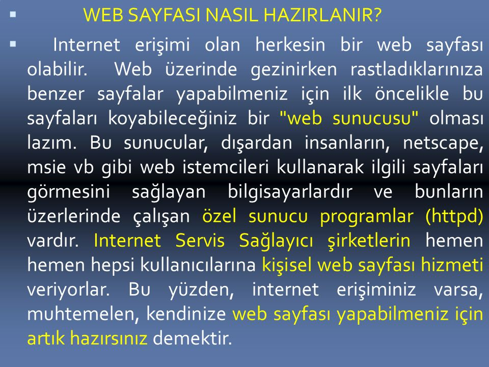 WEB SAYFASI NASIL HAZIRLANIR
