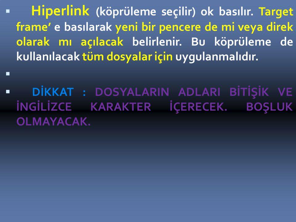 Hiperlink (köprüleme seçilir) ok basılır