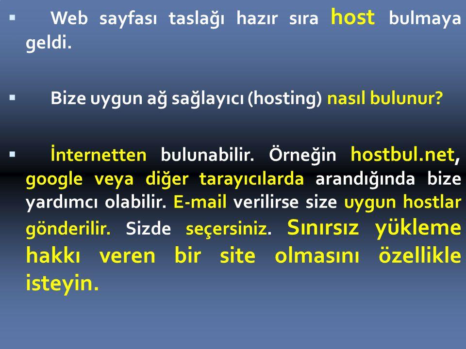 Web sayfası taslağı hazır sıra host bulmaya geldi.