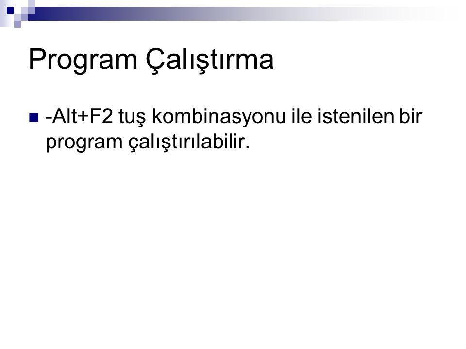 Program Çalıştırma -Alt+F2 tuş kombinasyonu ile istenilen bir program çalıştırılabilir.