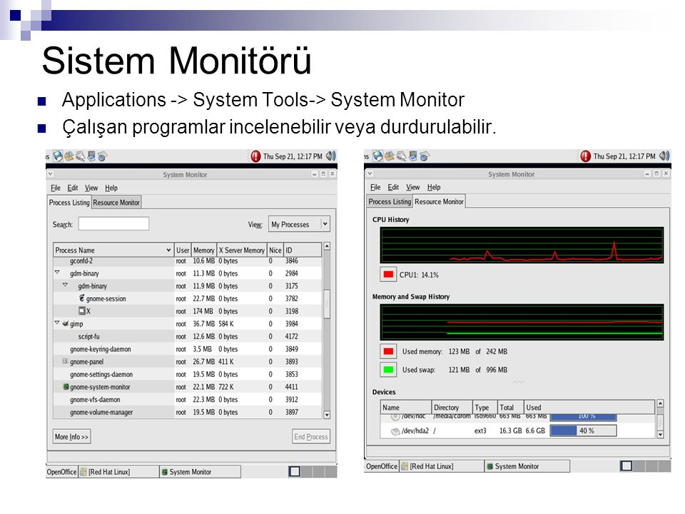 Sistem Monitörü Applications -> System Tools-> System Monitor