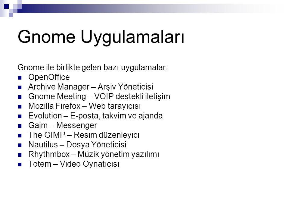 Gnome Uygulamaları Gnome ile birlikte gelen bazı uygulamalar: