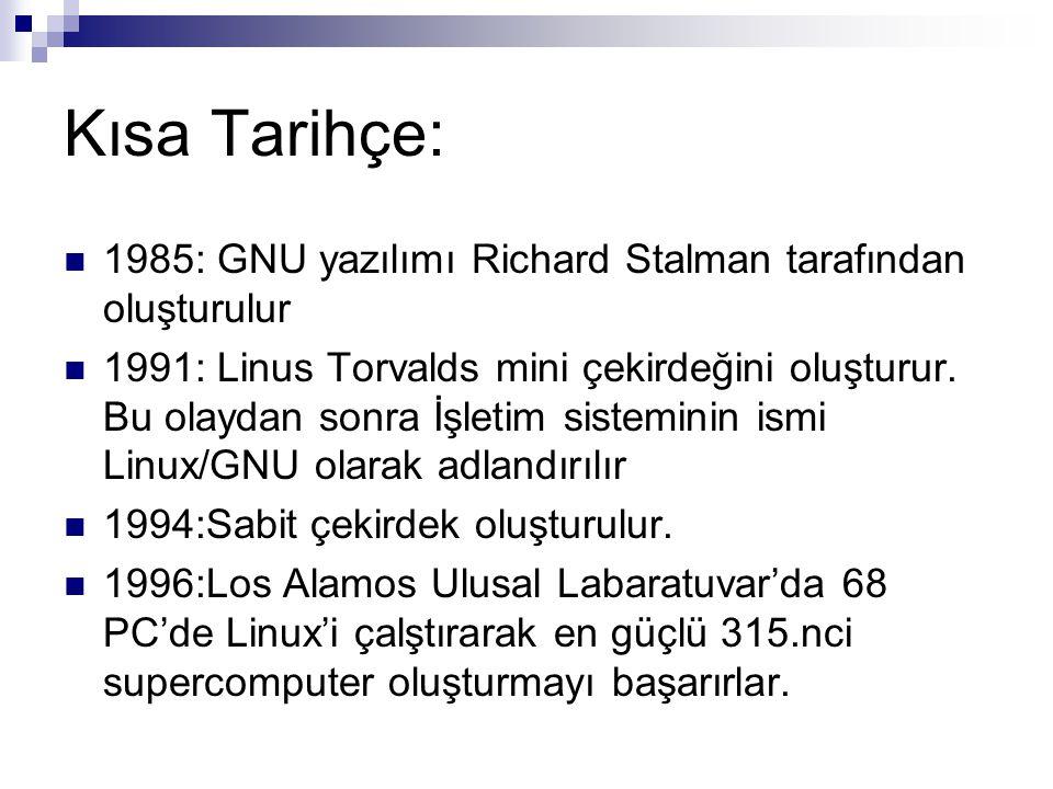 Kısa Tarihçe: 1985: GNU yazılımı Richard Stalman tarafından oluşturulur.