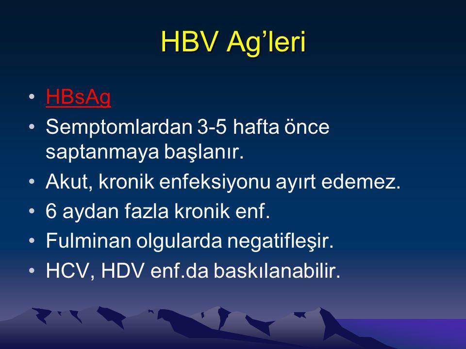 HBV Ag'leri HBsAg Semptomlardan 3-5 hafta önce saptanmaya başlanır.