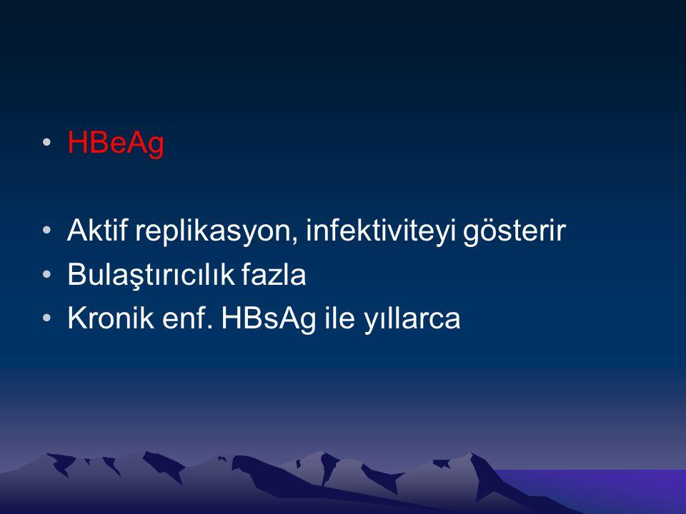 HBeAg Aktif replikasyon, infektiviteyi gösterir Bulaştırıcılık fazla Kronik enf. HBsAg ile yıllarca