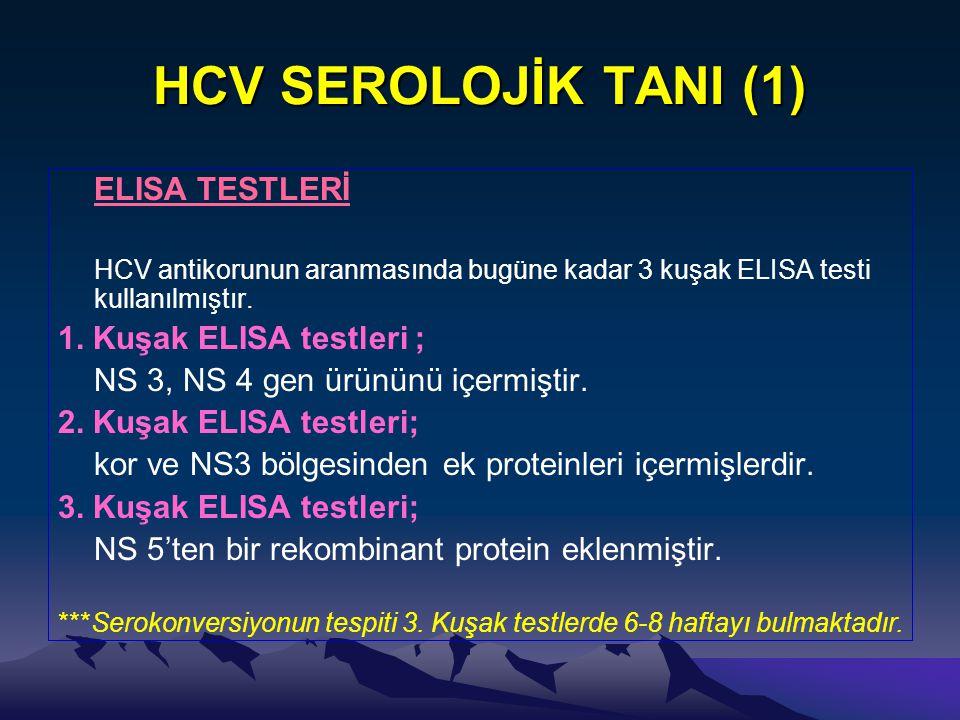 HCV SEROLOJİK TANI (1) ELISA TESTLERİ 1. Kuşak ELISA testleri ;