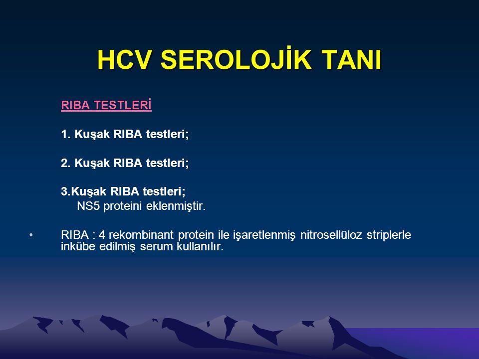 HCV SEROLOJİK TANI RIBA TESTLERİ 1. Kuşak RIBA testleri;