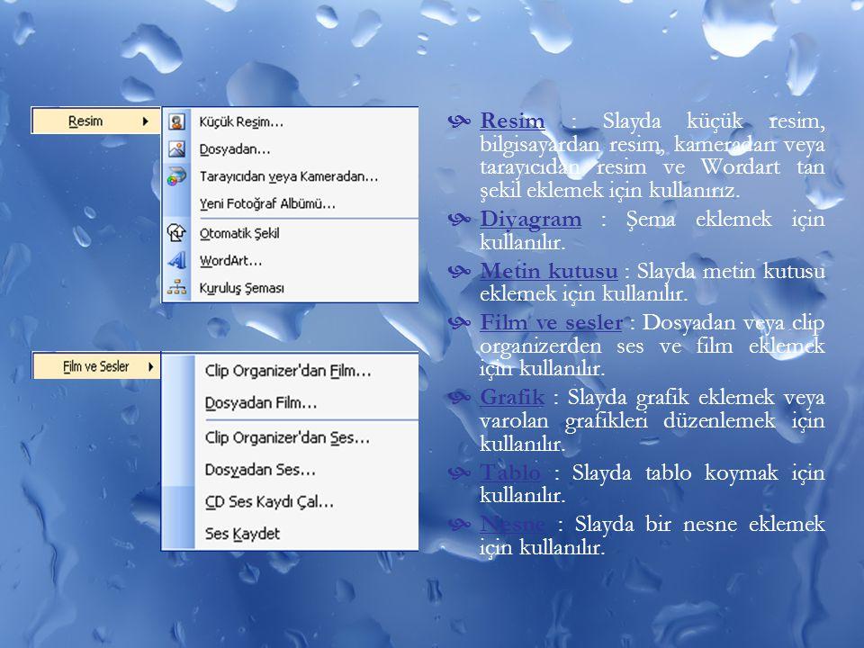 Resim : Slayda küçük resim, bilgisayardan resim, kameradan veya tarayıcıdan resim ve Wordart tan şekil eklemek için kullanırız.