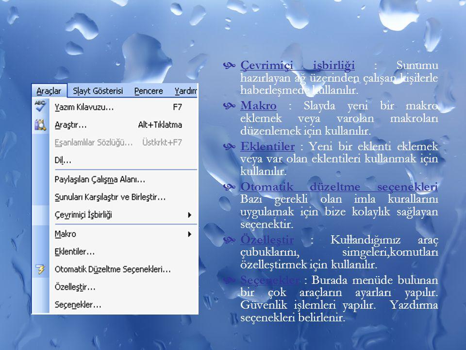Çevrimiçi işbirliği : Sunumu hazırlayan ağ üzerinden çalışan kişilerle haberleşmede kullanılır.