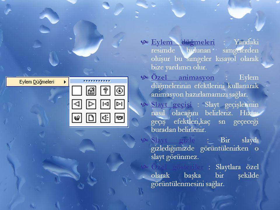 Eylem düğmeleri : Yandaki resimde bulunan simgelerden oluşur bu simgeler kısayol olarak bize yardımcı olur.