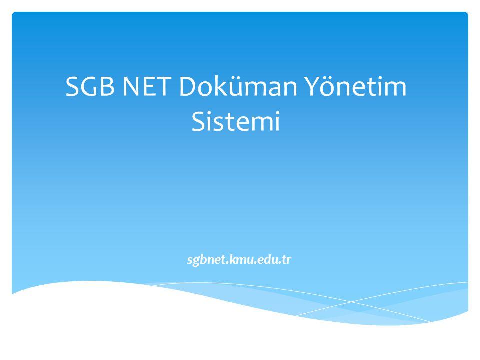 SGB NET Doküman Yönetim Sistemi