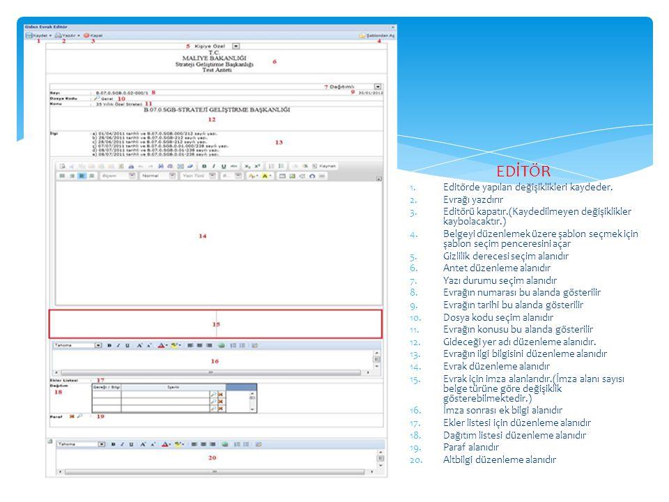 EDİTÖR Editörde yapılan değişiklikleri kaydeder. Evrağı yazdırır
