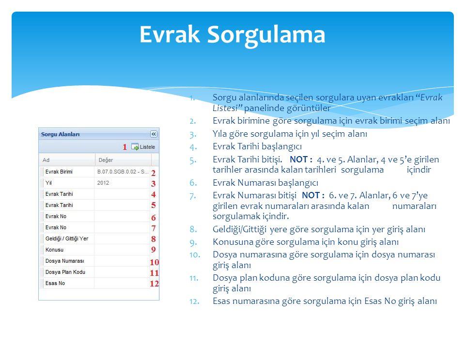 Evrak Sorgulama Sorgu alanlarında seçilen sorgulara uyan evrakları Evrak Listesi panelinde görüntüler.