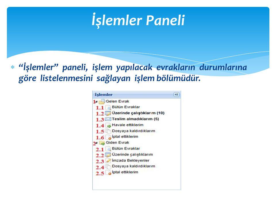 İşlemler Paneli İşlemler paneli, işlem yapılacak evrakların durumlarına göre listelenmesini sağlayan işlem bölümüdür.