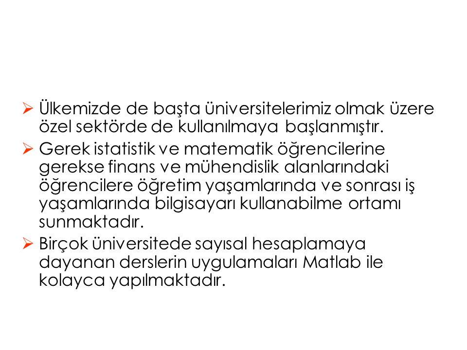 Ülkemizde de başta üniversitelerimiz olmak üzere özel sektörde de kullanılmaya başlanmıştır.