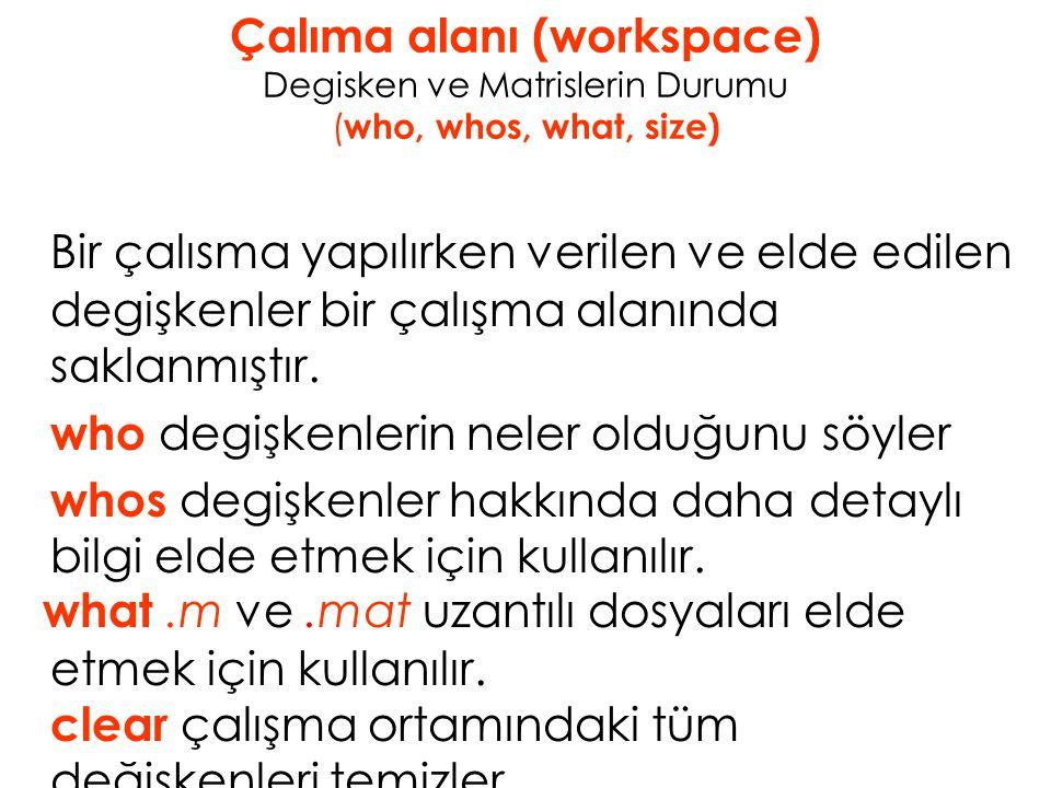 Çalıma alanı (workspace) Degisken ve Matrislerin Durumu (who, whos, what, size)