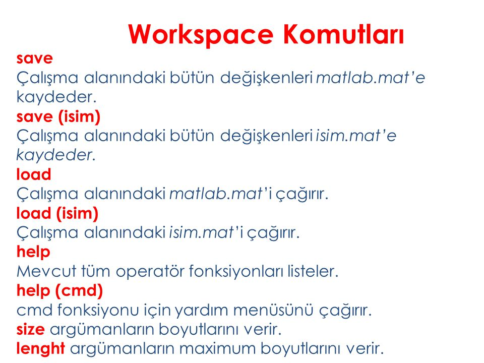 Workspace Komutları save