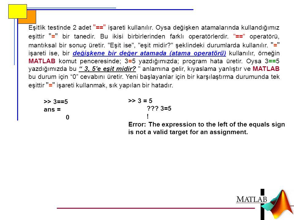 Eşitlik testinde 2 adet == işareti kullanılır