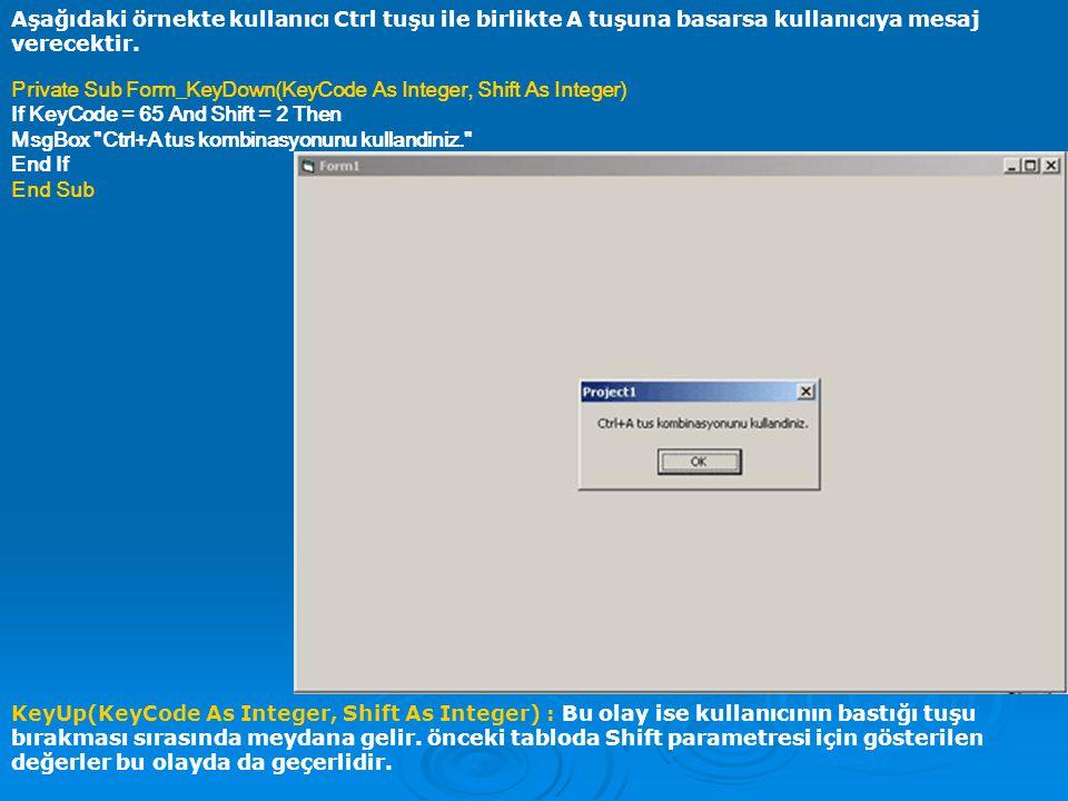 Aşağıdaki örnekte kullanıcı Ctrl tuşu ile birlikte A tuşuna basarsa kullanıcıya mesaj verecektir.