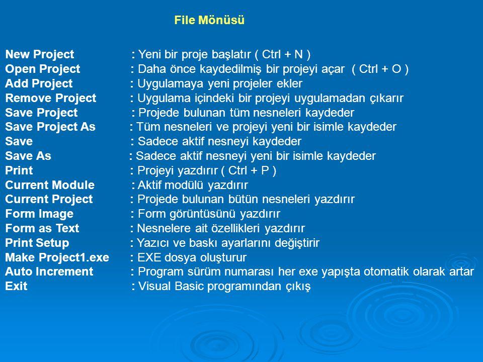 File Mönüsü New Project : Yeni bir proje başlatır ( Ctrl + N )