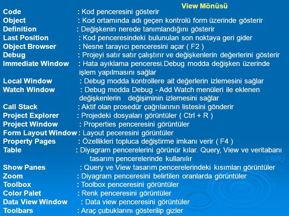 View Mönüsü Code : Kod penceresini gösterir.