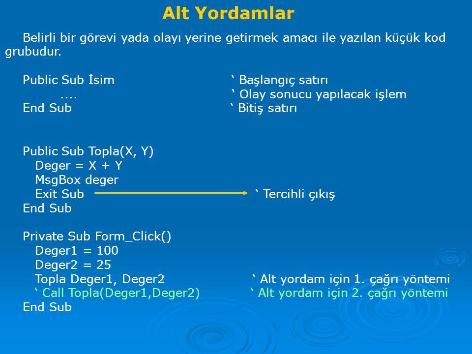 Alt Yordamlar Belirli bir görevi yada olayı yerine getirmek amacı ile yazılan küçük kod grubudur.