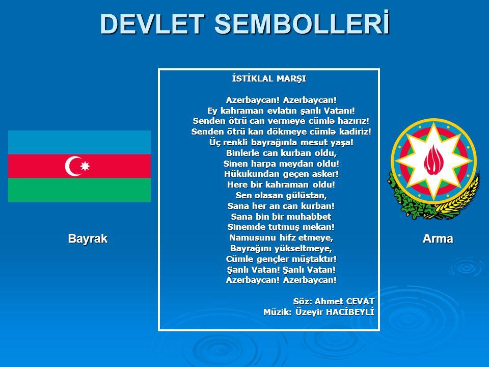 DEVLET SEMBOLLERİ Bayrak Arma İSTİKLAL MARŞI Azerbaycan! Azerbaycan!