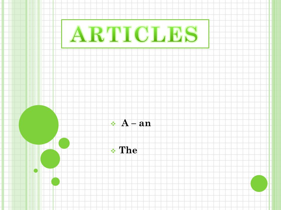 ARTICLES A – an The