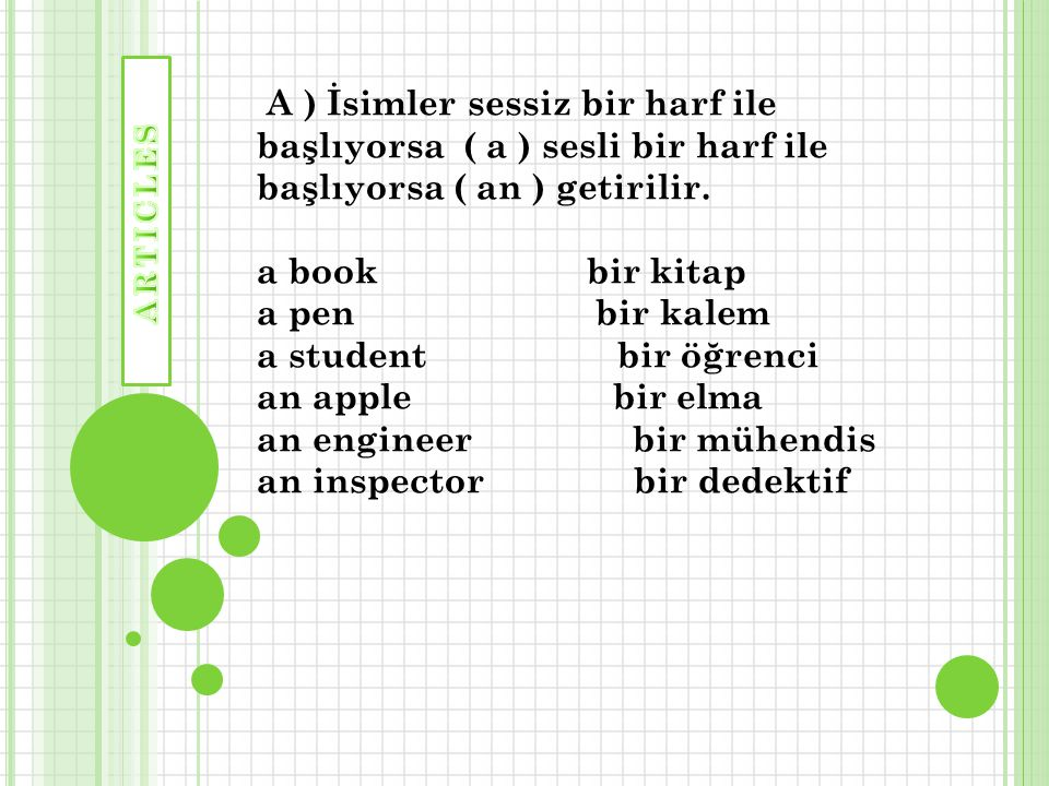 A ) İsimler sessiz bir harf ile başlıyorsa ( a ) sesli bir harf ile başlıyorsa ( an ) getirilir. a book bir kitap a pen bir kalem a student bir öğrenci an apple bir elma an engineer bir mühendis an inspector bir dedektif