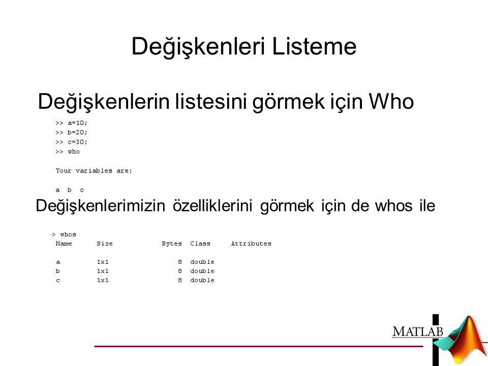 Değişkenleri Listeme Değişkenlerin listesini görmek için Who komutu ile.