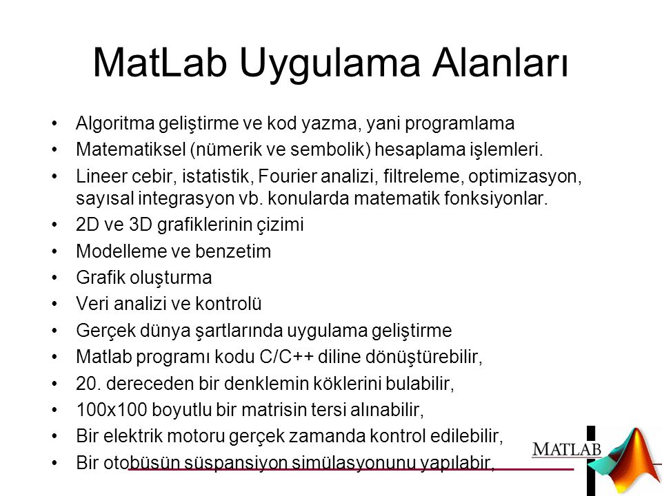MatLab Uygulama Alanları