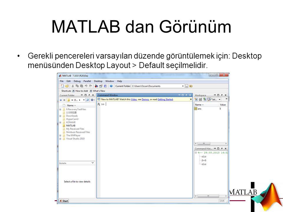 MATLAB dan Görünüm Gerekli pencereleri varsayılan düzende görüntülemek için: Desktop menüsünden Desktop Layout > Default seçilmelidir.