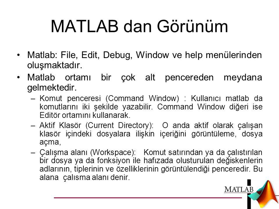 MATLAB dan Görünüm Matlab: File, Edit, Debug, Window ve help menülerinden oluşmaktadır. Matlab ortamı bir çok alt pencereden meydana gelmektedir.