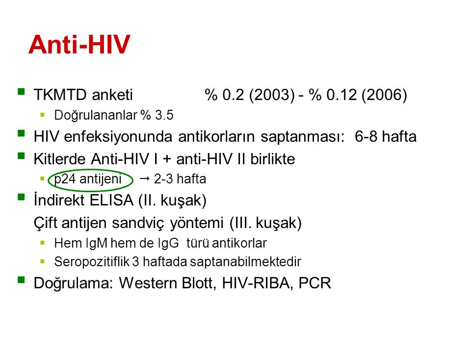 Anti-HIV TKMTD anketi % 0.2 (2003) - % 0.12 (2006)