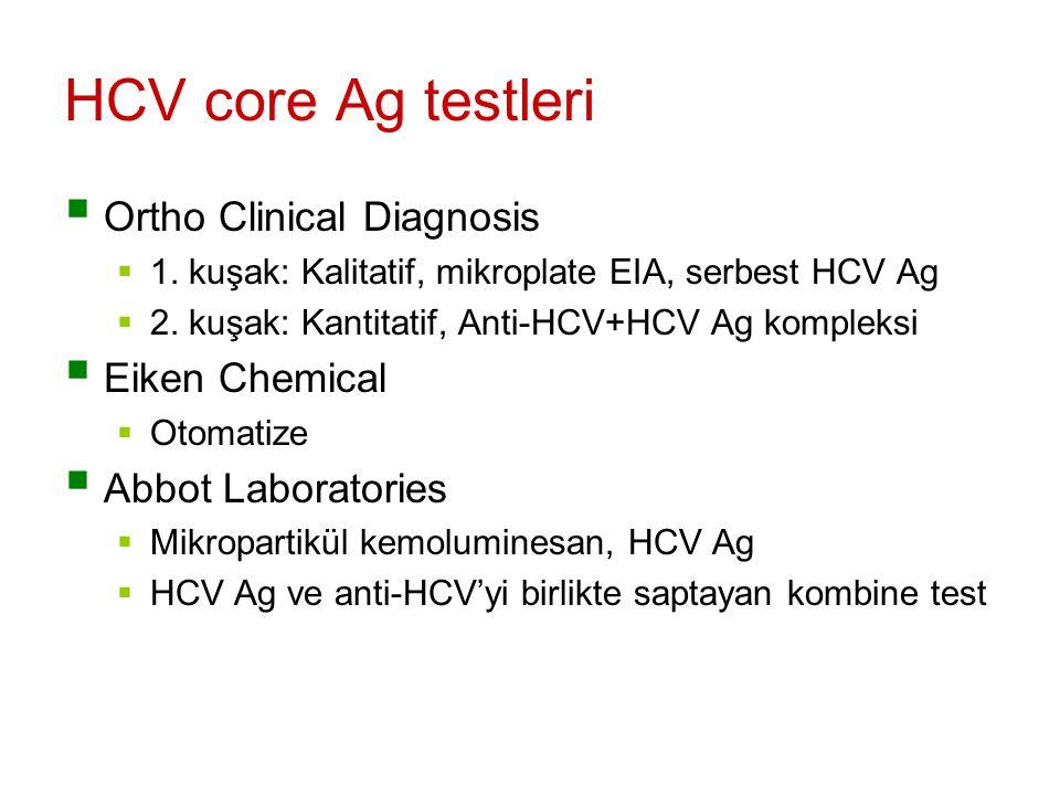 HCV core Ag testleri Ortho Clinical Diagnosis Eiken Chemical