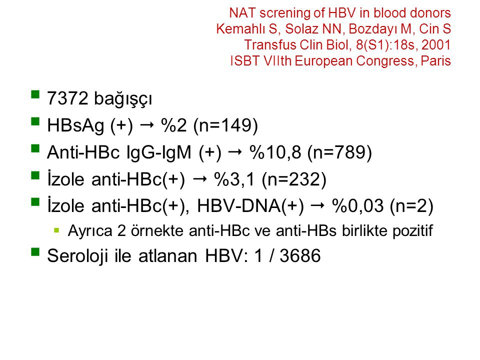 Anti-HBc IgG-IgM (+)  %10,8 (n=789) İzole anti-HBc(+)  %3,1 (n=232)
