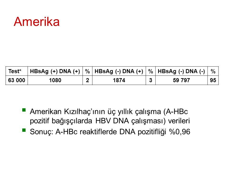 Amerika Test* HBsAg (+) DNA (+) % HBsAg (-) DNA (+) HBsAg (-) DNA (-) 63 000. 1080. 2. 1874.