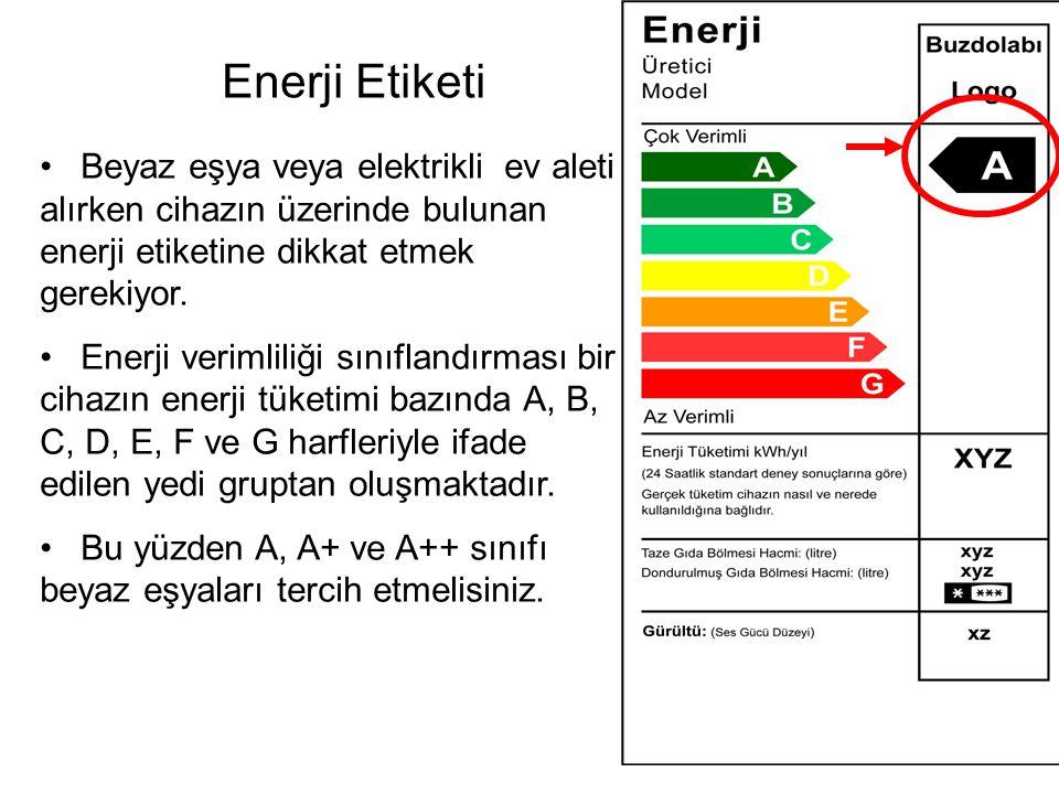 Enerji Etiketi Beyaz eşya veya elektrikli ev aleti alırken cihazın üzerinde bulunan enerji etiketine dikkat etmek gerekiyor.