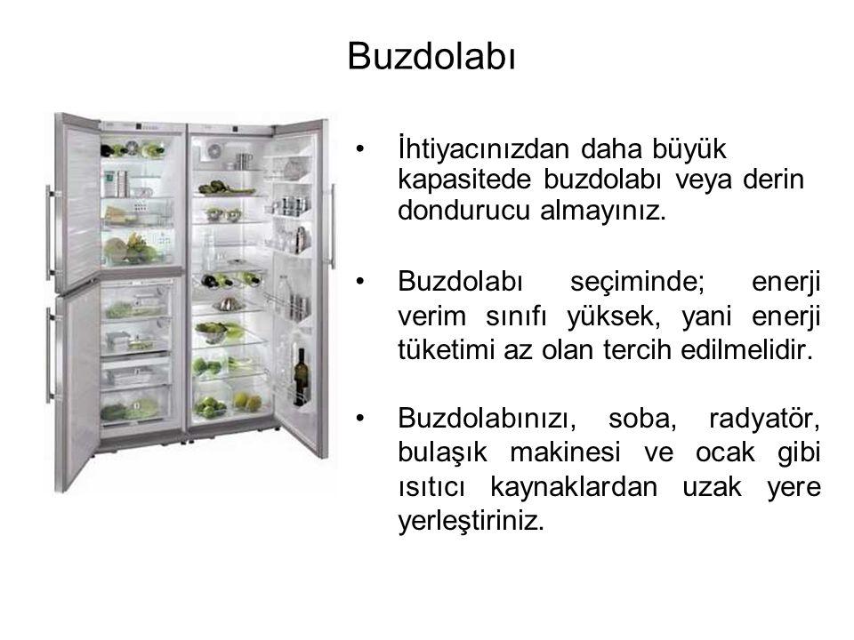 Buzdolabı İhtiyacınızdan daha büyük kapasitede buzdolabı veya derin dondurucu almayınız.