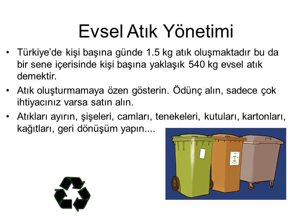 Evsel Atık Yönetimi Türkiye'de kişi başına günde 1.5 kg atık oluşmaktadır bu da bir sene içerisinde kişi başına yaklaşık 540 kg evsel atık demektir.