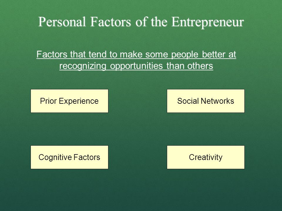 Personal Factors of the Entrepreneur