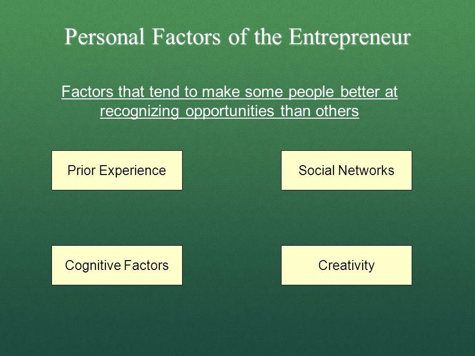 Personal Factors of the Entrepreneur