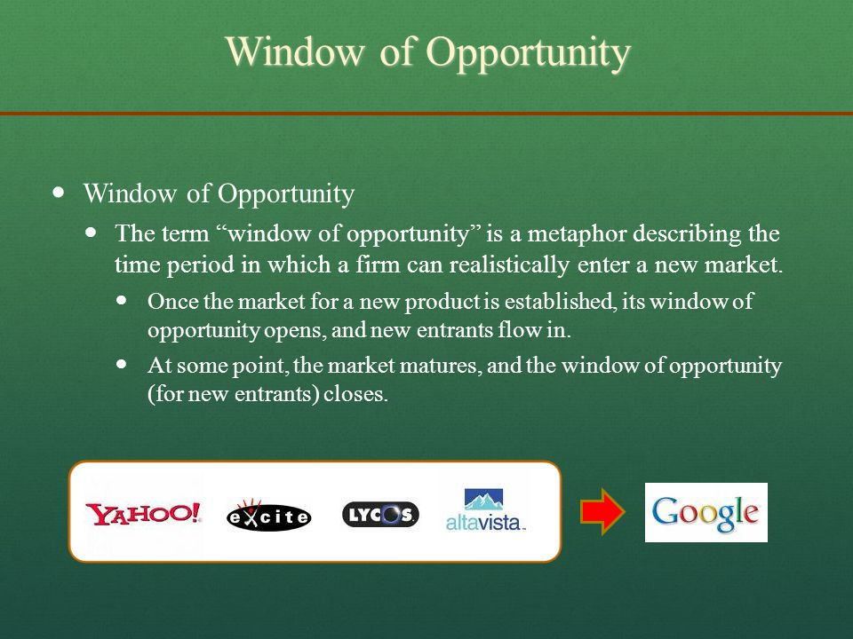 Window of Opportunity Window of Opportunity