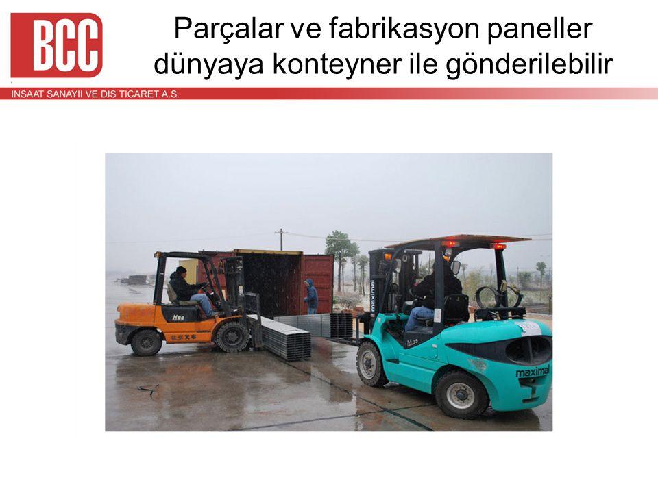 Parçalar ve fabrikasyon paneller dünyaya konteyner ile gönderilebilir